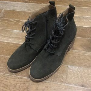 Lucky brand lace up green suede booties. NWOT